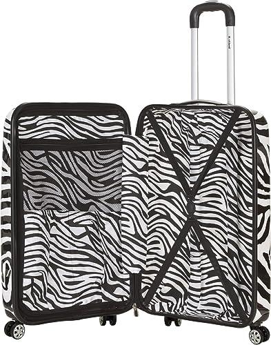 Rockland Safari Hardside Spinner Wheel Luggage, Zebra, 3-Piece Set 20 24 28