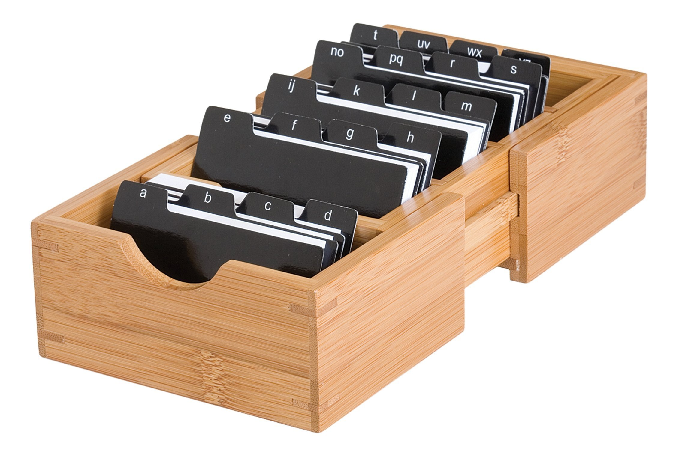 Lipper International 810 Bamboo Wood Expandable Business Card Holder with Alphabet Index Tabs, 5'' x 8'' x 2 1/4''