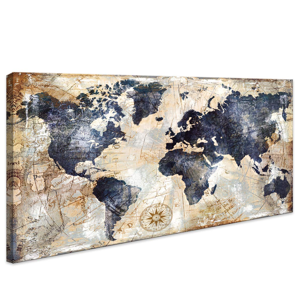 World Map Wall Art Framed Art Print Picture Wall Art Decor Home Interior - Map Picture for Office Wall Decor Canvas Artwork 20x40inch Ready to Hang