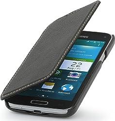 StilGut UltraSlim Case, custodia in vera pelle versione booklet per Samsung Galaxy S5 mini, nero