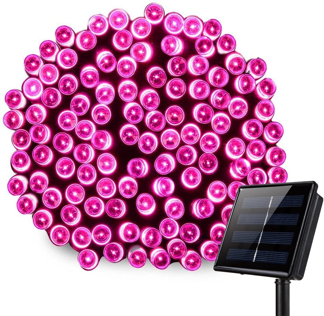 Outdoor Solar String Lights,8 Modes WONFAST Waterproof 72ft 200led Solar Christmas Fairy Lights Ambiance Lighting for Camping, Garden, Patio, Backyard, Fence and Holiday Decorations Pink