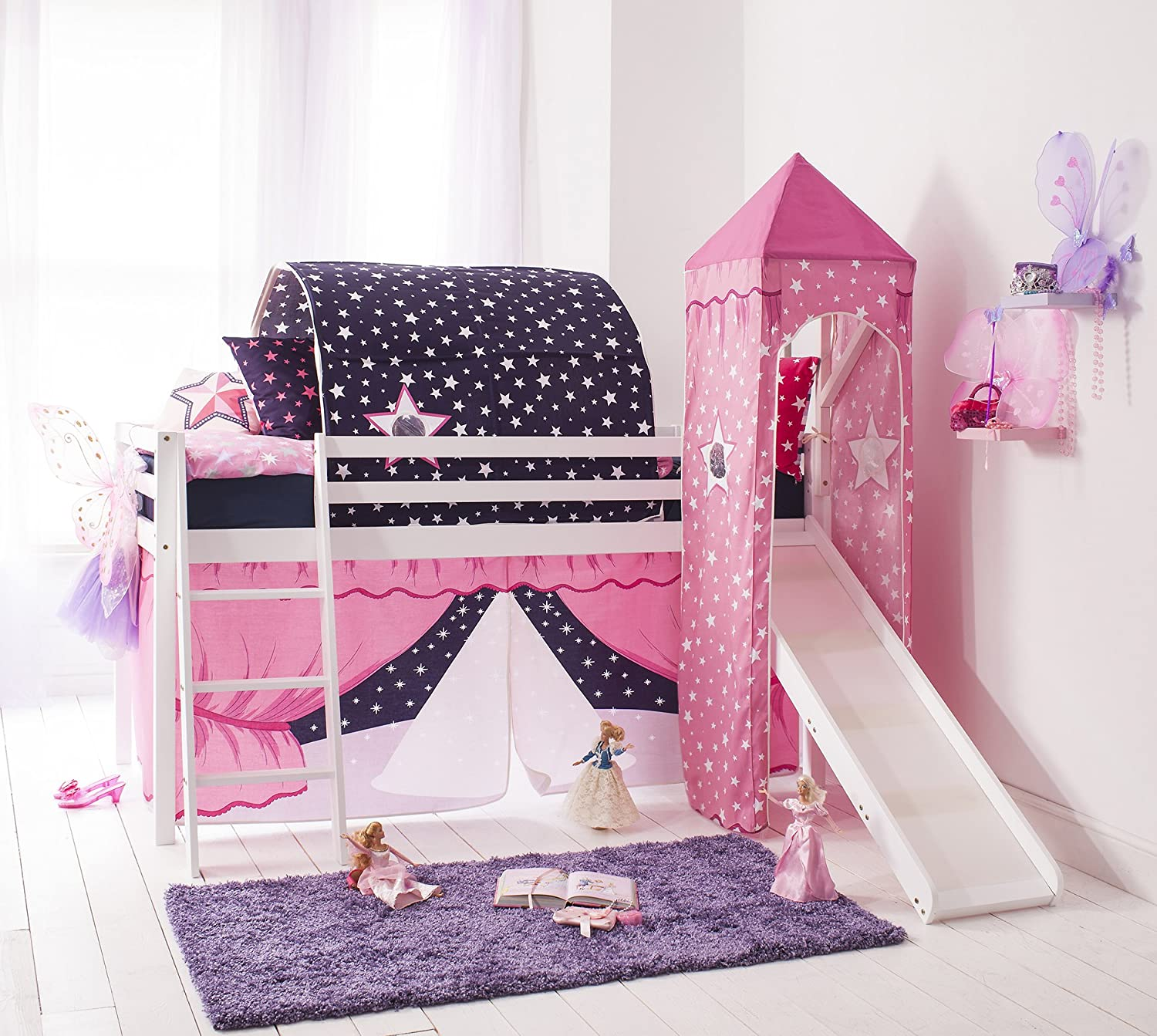 Noa and Nani Cabin Bed Mid Sleeper ShowTime in White with Tower & Tent Showtime
