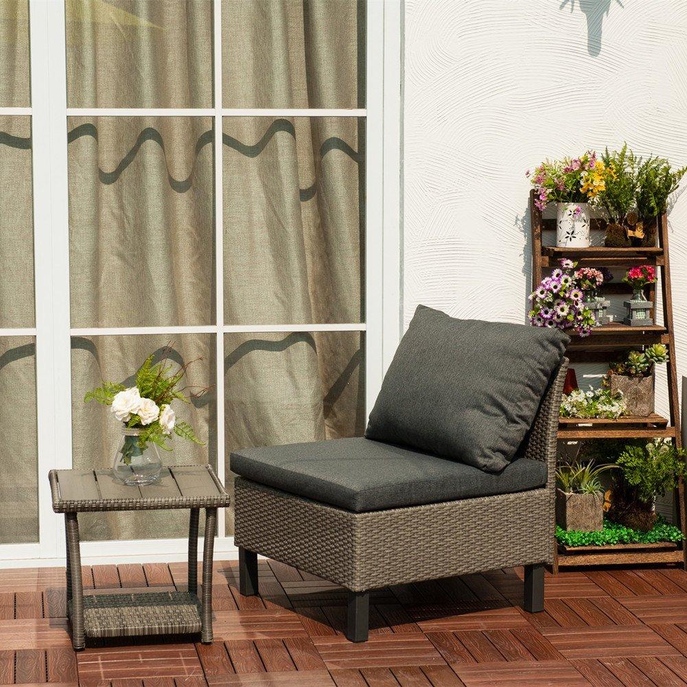 Kombinationen Rattan Loungesofa Set, Loungesessel aus Polyrattan Gartenmöbel inkl. Polster, Grau