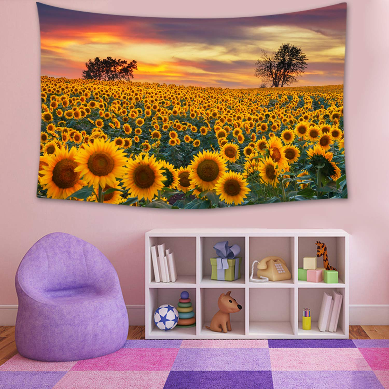 Sunflower at Sunset Tapestry Yellow Landscape Tapestry Wall Hanging Home Decor Wall Decor Living Room Bedroom Dorm Room 79X59 Inch
