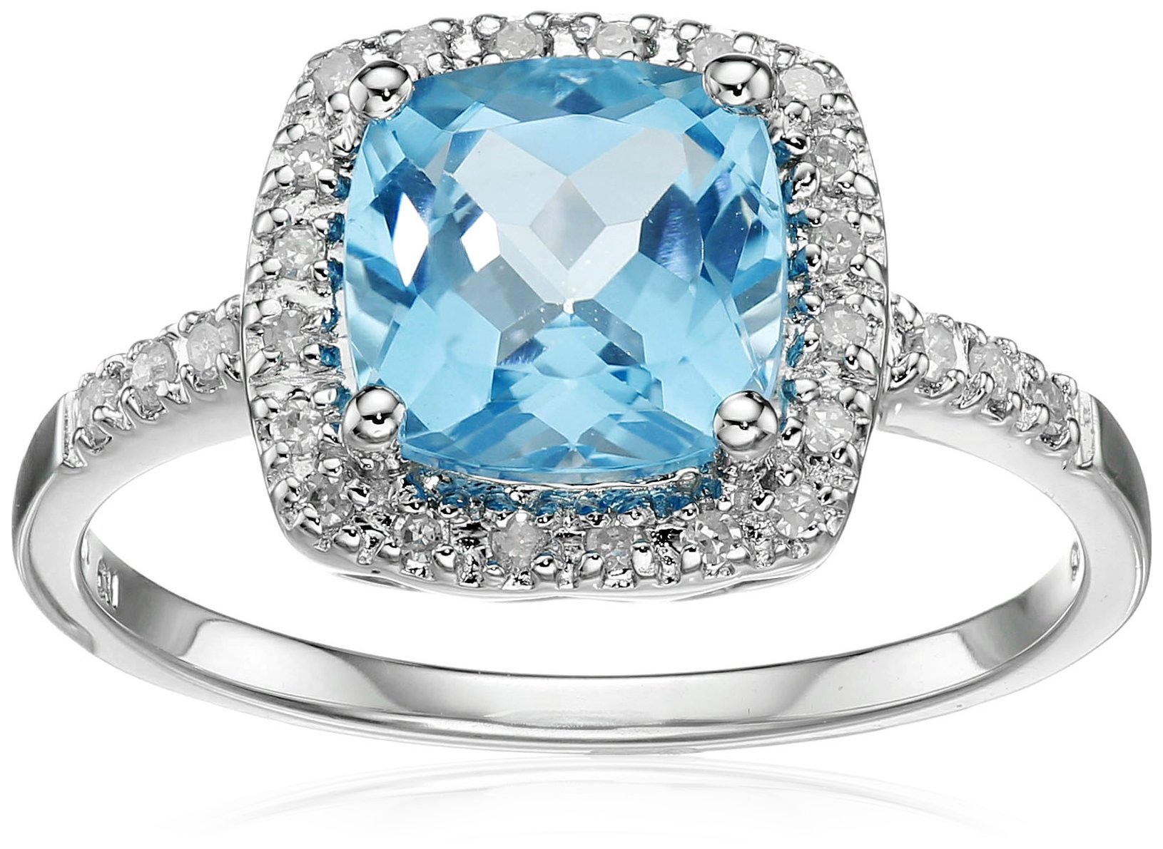 Sterling Silver Swiss Blue Topaz and Diamond Cushion Halo Ring (0.14 cttw, I-J Color, I2-I3 Clarity), Size 8