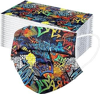 50 Unidades Tela Niños Unisex 3 Capa Bufanda,Para 2-10 Años,Desechables Infantil de Filtro de Elásticos, Dibujos Animados patrón Patrón de arco iris