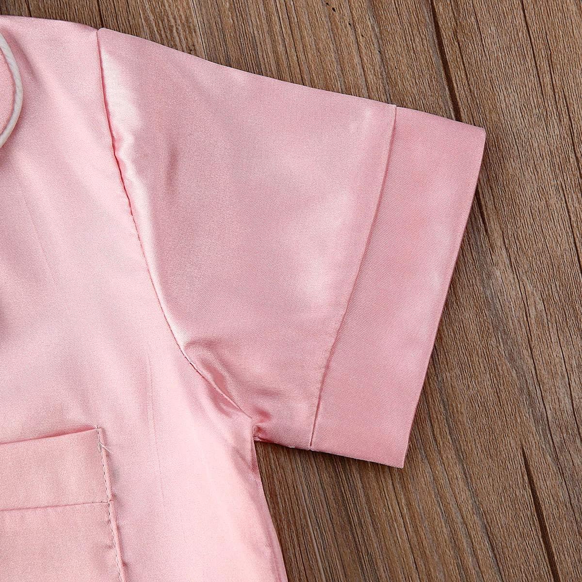 Toddler Baby Girl Boy Satin Silk Pajamas Cute Animal Cartoon Short Sleeve Pjs Sleepwear Loungewear Outfit Set
