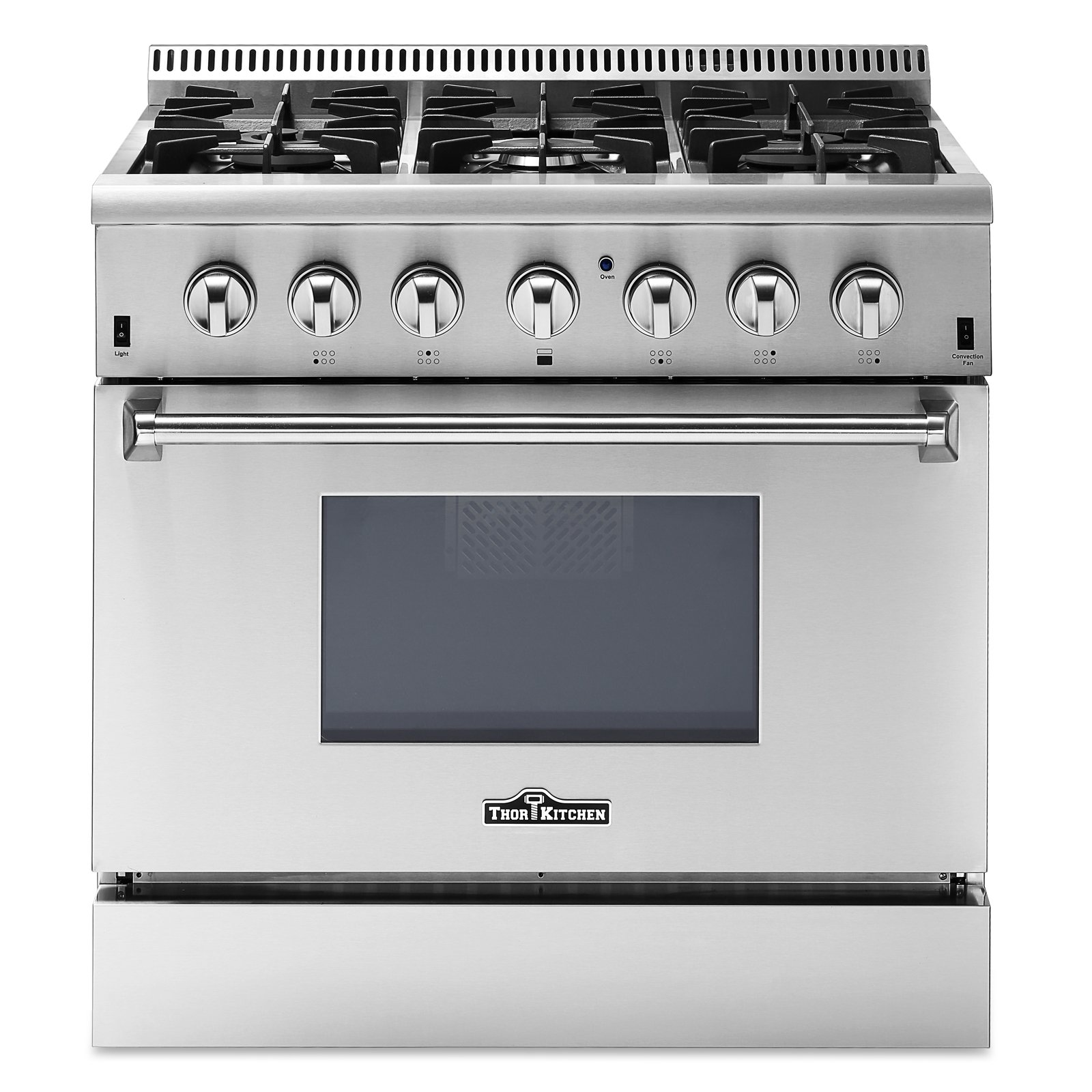 Thor Kitchen 36'' Dual Fuel Range, Freestanding, 5.2 cu. ft. Oven, Stainless Steel (HRD3606U) (grey)