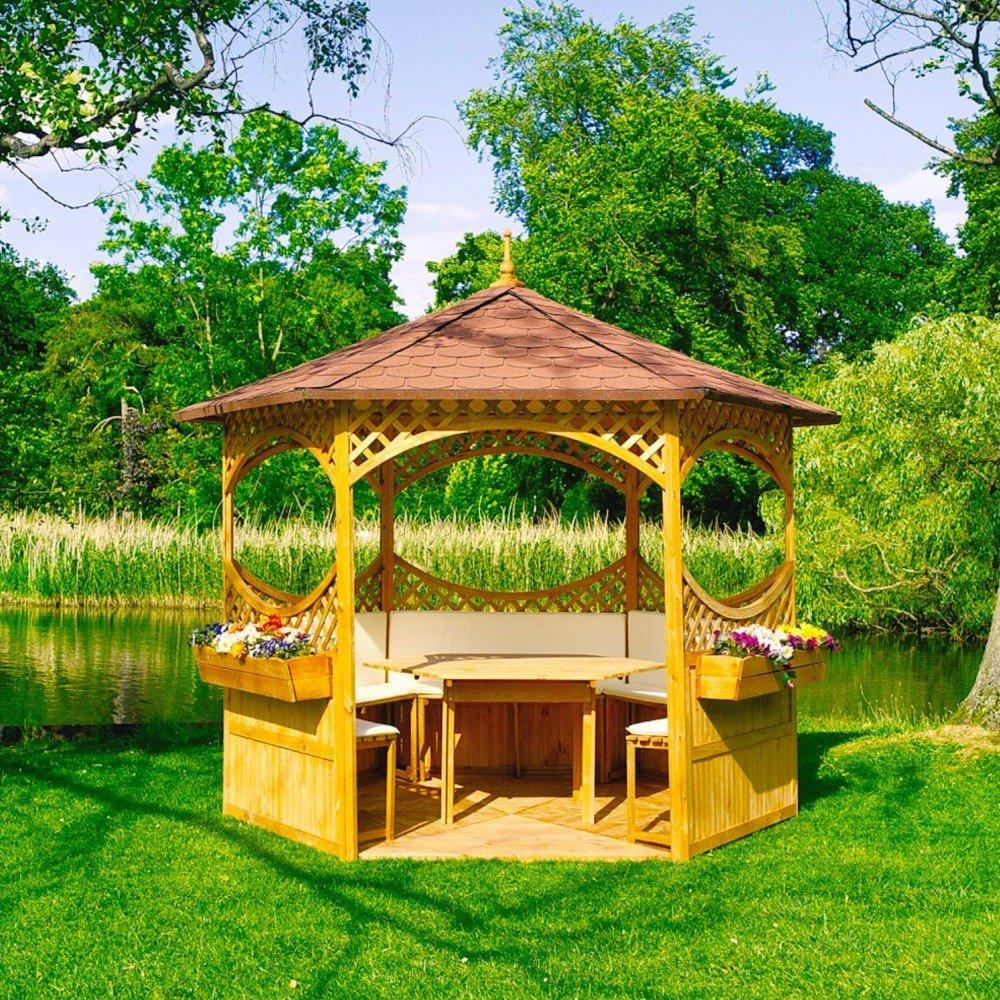 Pavillon Palma mit Bitumenschindeldach mit oder ohne Möbel Holzpavillon, Ausstattung:ohne Möbel