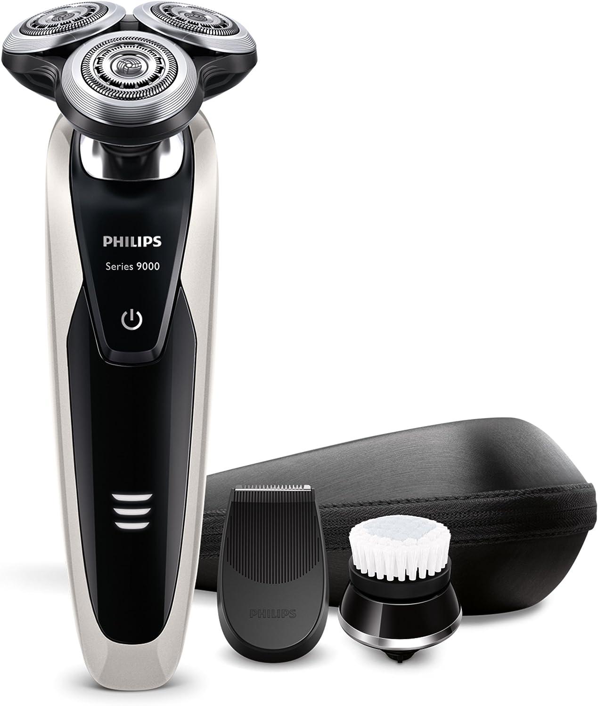 Philips Serie 9000 S9090/43 Máquina de afeitar, cabezales de 8 direcciones, uso en seco/húmedo, 40 min de batería, recortador de precisión, cepillo limpiador facial y funda de viaje, perla metálico