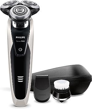 Philips Serie 9000 S9090/43 Máquina de afeitar, cabezales de 8 direcciones, uso en seco/húmedo, 40 min de batería, recortador de precisión, cepillo limpiador facial y ...