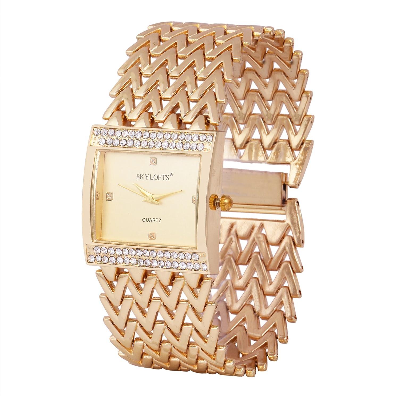 Skylofts 18K Gold Plated Metallic Strap Bracelet Watch