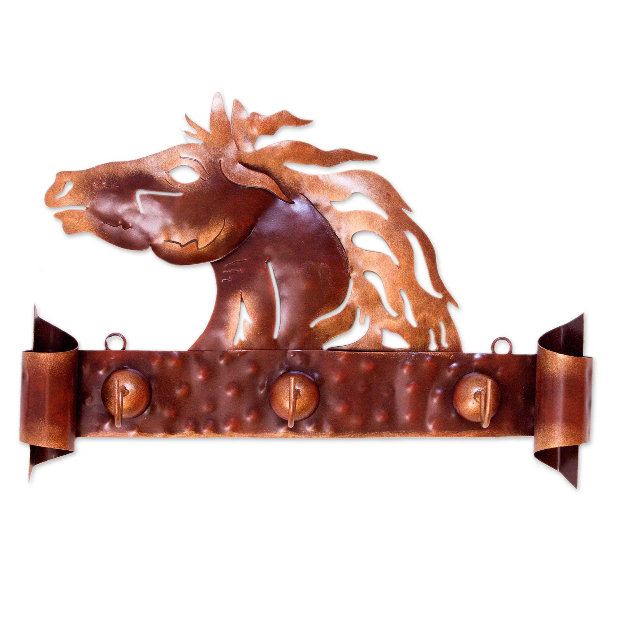 NOVICA Animal Themed Steel Coat and Key Holder, Metallic, Horse Of Gold'