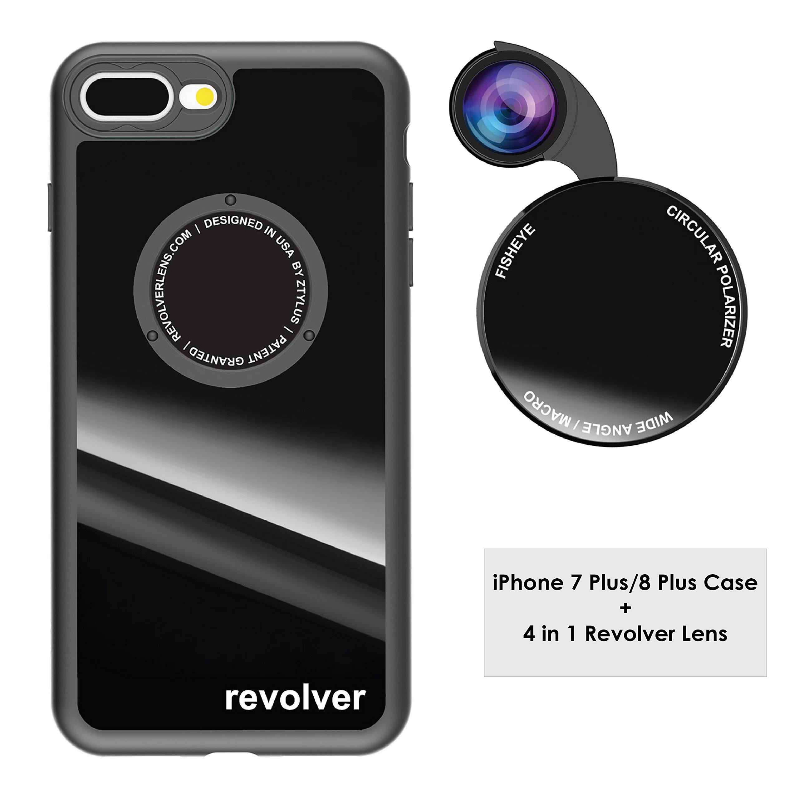 Funda y 4  Lentes Ztylus Revolver p/ iPhone 7/8 Plus - Black