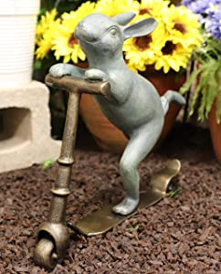 """Ebros Gift Large Aluminum Metal Verdigris Whimsical Speedy Bunny Rabbit Riding On Scooter 3D Art Garden Stake Statue 18.25"""" Long for Outdoors Yard Pool Home Decorative Accent"""
