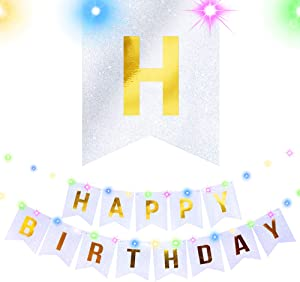 Stratton.I Happy Birthday Banner Party Decorations LED Lights Silver Party Hanging Signs, Glitter Garland Paper Banners