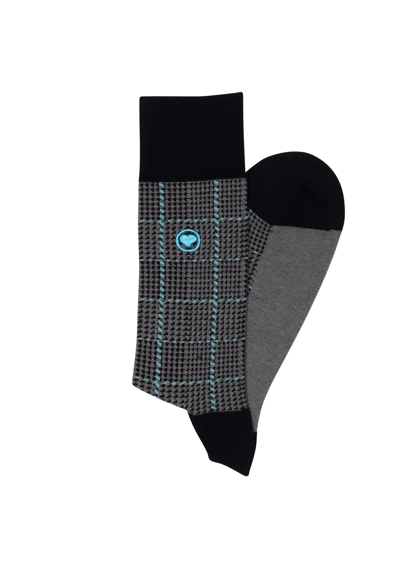 LOVE SOCK COMPANY Black Organic cotton men's dress socks bundle. 3 Premium black socks solid, polka dots and houndstooth patterned socks set by LOVE SOCK COMPANY (Image #2)