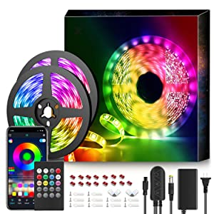 50Ft LED Strip Lights Music Sync Color Changing RGB LED Strip 20-Key Remote, Sensitive Built-in Mic, App Controlled LED Lights Rope Lights, 5050 RGB LED Light Strip(APP+Remote+Mic+3 Button Switch)