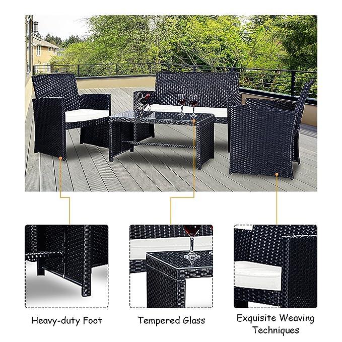 Amazon.com: Goplus - Juego de muebles de jardín de ratán ...