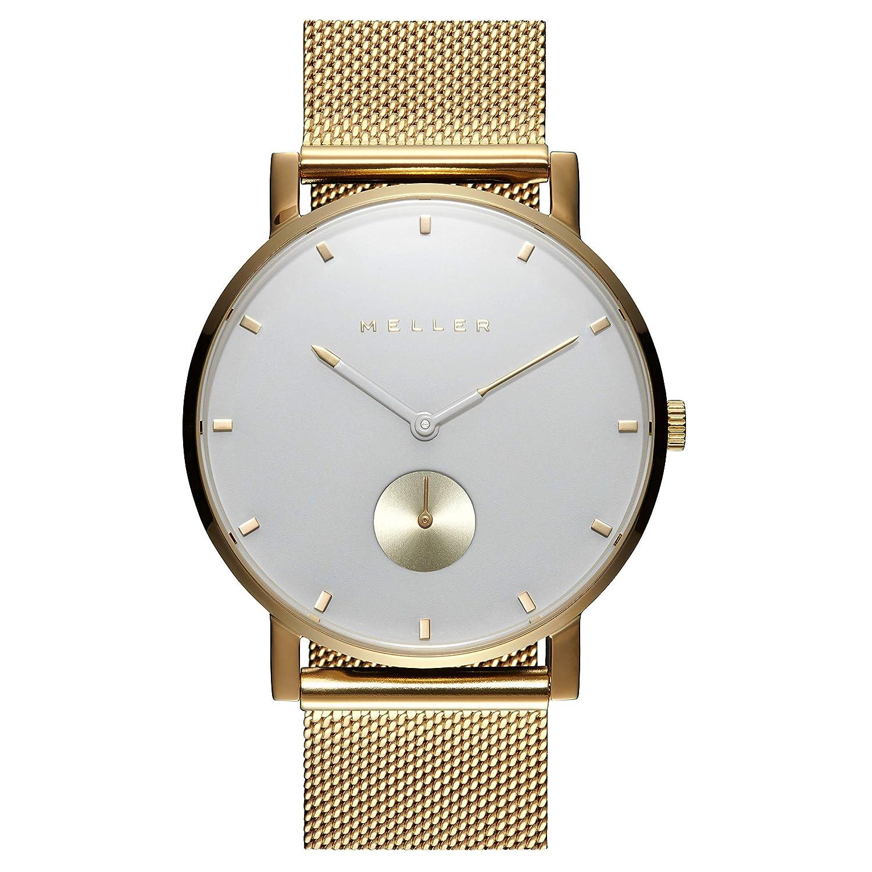 Meller Reloj Analógico para Unisex Adultos de Cuarzo con Correa en Acero Inoxidable 2OB-2GOLD: Amazon.es: Relojes