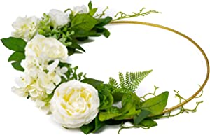 """NuBox Trading Co. Artificial Flower Hanging Hoop Garland with 15"""" Large Golden Hoop for Parties, Weddings, Bride, Bridesmaid, Celebrations, Beaches, Nursery Wall, Center Piece Décor (White Pattern 1)"""