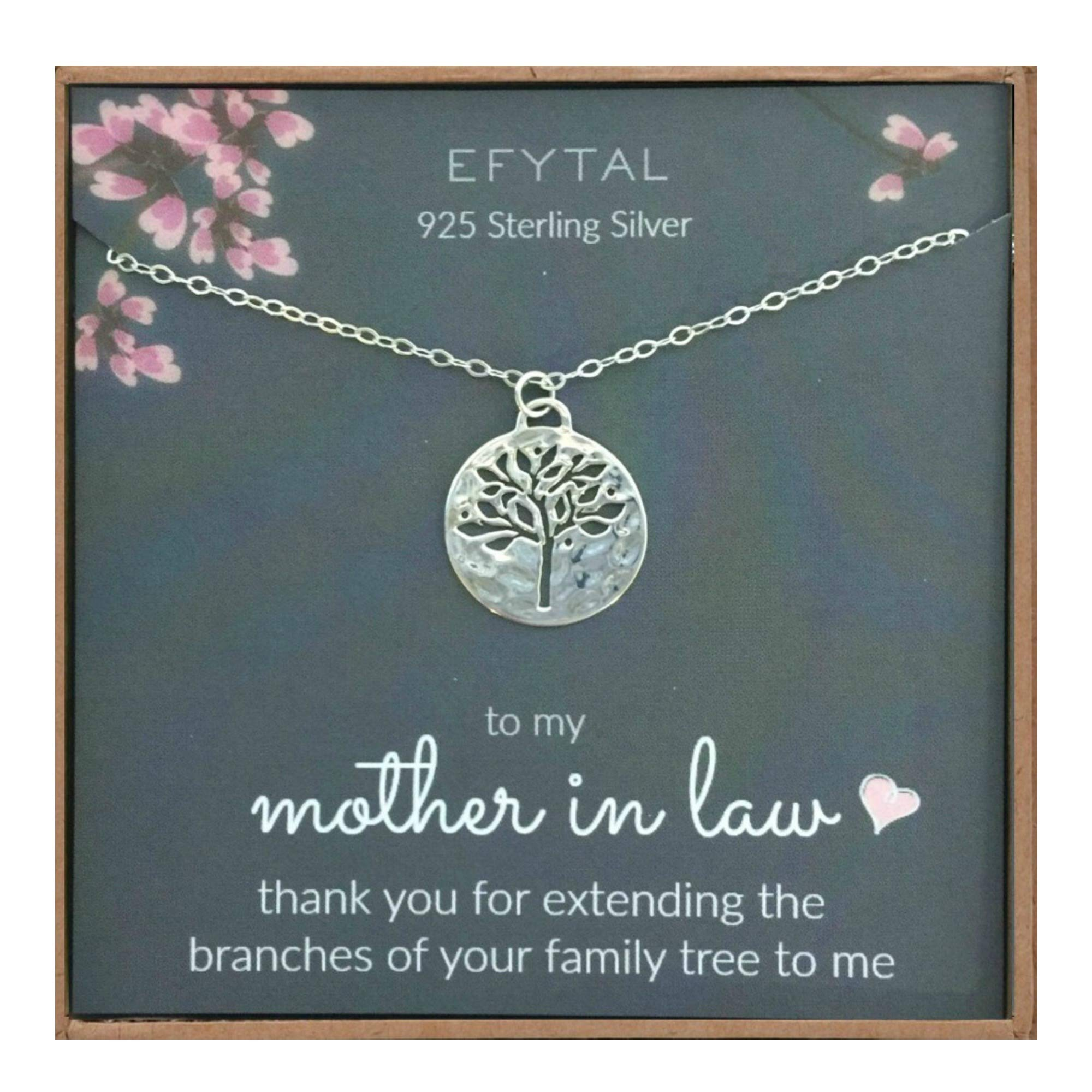 EFYTAL Mother in Law Gifts, Sterling Silver Tree of Life Necklace, Wedding Jewelry Gift from Bride or Groom by EFYTAL
