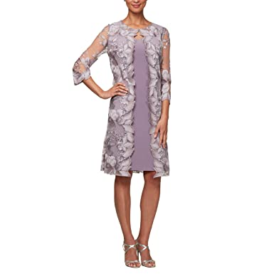 3d39bf0e47a Amazon.com  Alex Evenings Women s Midi Scoop Neck Shift Dress with Chiffon Trim  Jacket  Clothing