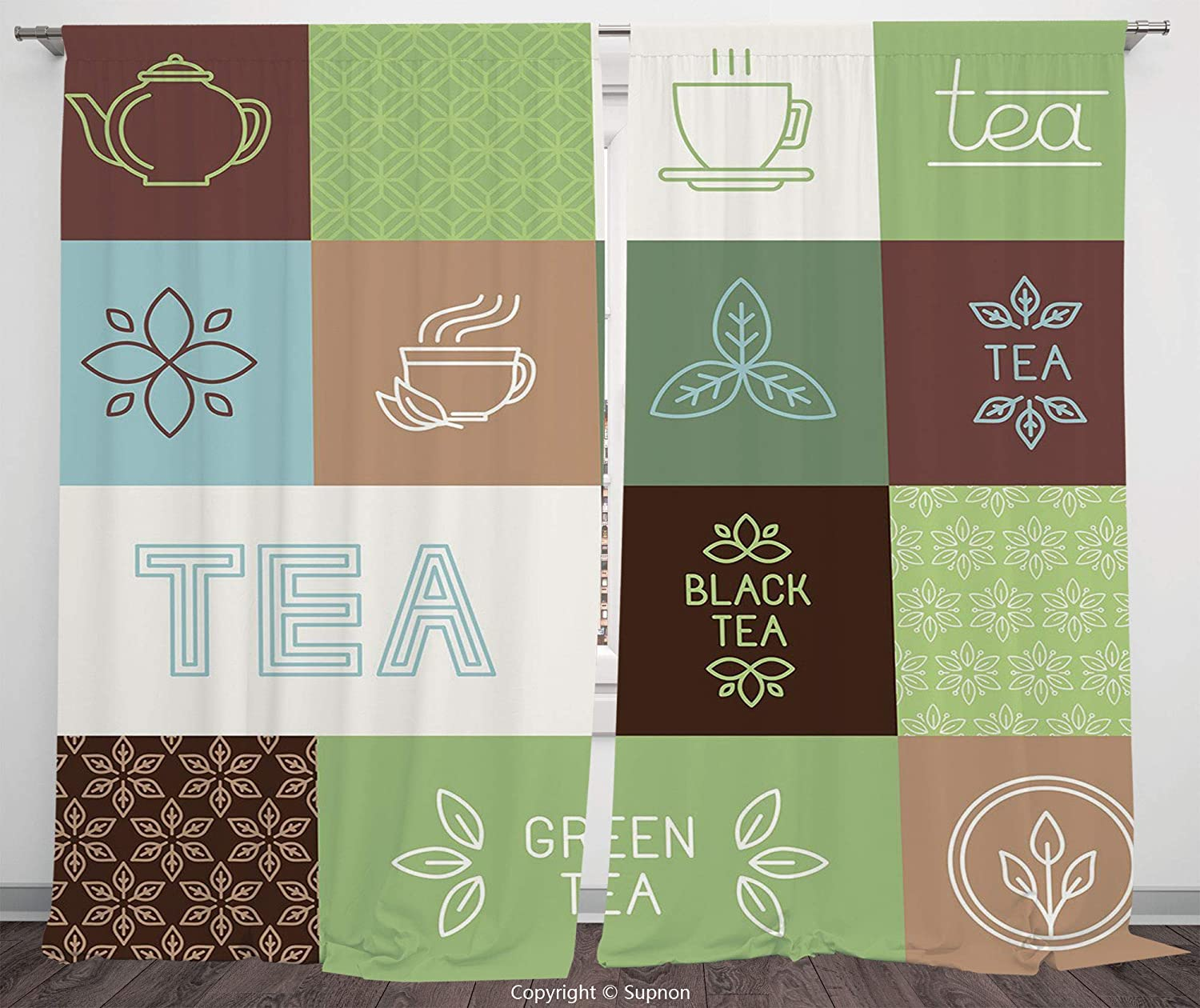 Rod Pocket Curtain Panel Polyester Translucent Curtains for Bedroom Living Room Dorm Kitchen Cafe/2 Curtain Panels/84 x 84 Inch/Tea Party,Checkered Tea Themed Images Symbols Geometrical Soft Colored M