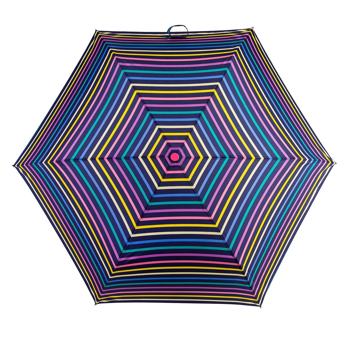 Totes Supermini Ladies Folding Umbrella - Bright Visual Stripes 8131