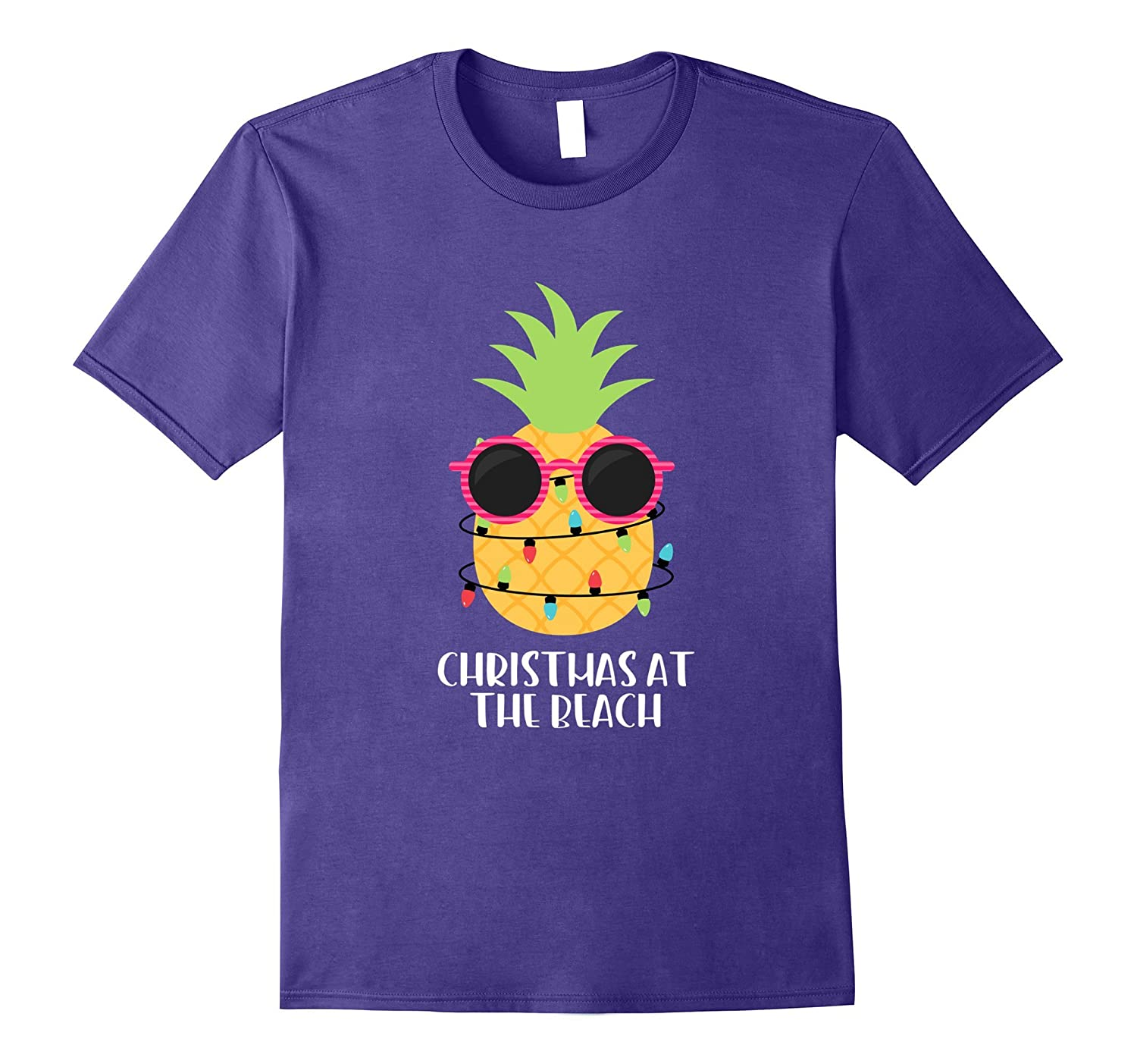 Christmas At The Beach Pineapple Lights Women's T-Shirt Gift-Rose