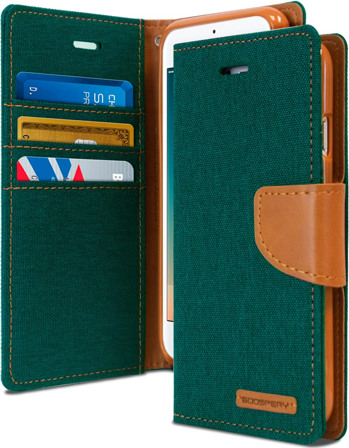 Goospery Canvas Wallet for Apple iPhone 8 Plus Case (2017) iPhone 7 Plus Case (2016) Denim Stand Flip Cover (Green) IP7P-CAN-GRN