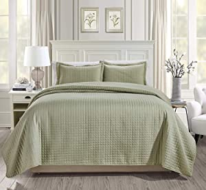 Chezmoi Collection 3-Piece Solid Modern Quilted Bedspread Coverlet Set (Queen, Sage)