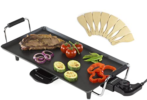 Andrew James Large Teppanyaki Electric Grill - Indoor Hot Plate BBQ for Table Top Cooking - 2000w With 6 Heat Settings & 46cm x 24.5cm Non-Stick Cooking Plate - Includes 8 Wooden Spatulas