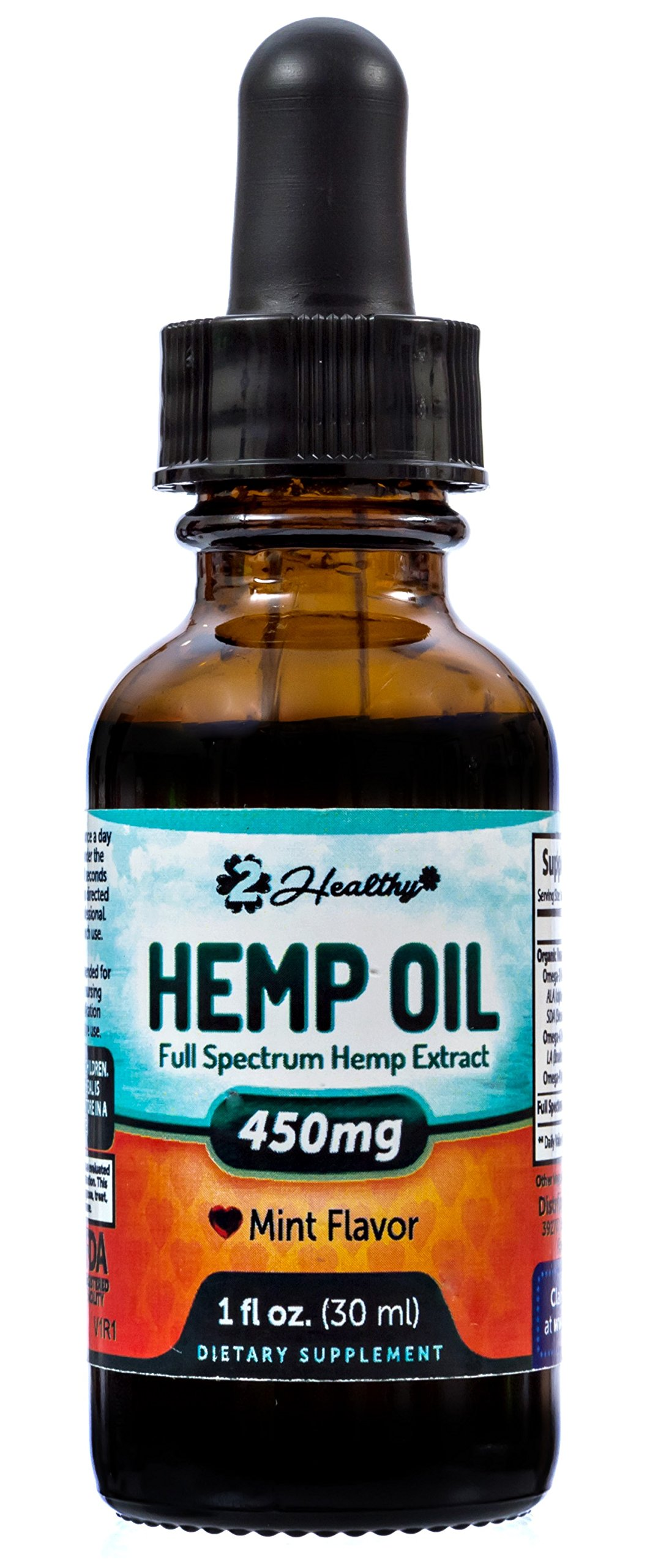 Premium Hemp Oil Mint Drops (450mg) for Pain Relief, Stress Support & Anti Anxiety Supplement - Contains Omega 3 & 6 Fatty Acids - May Help Improve Sleep & Reduce Chronic Pain
