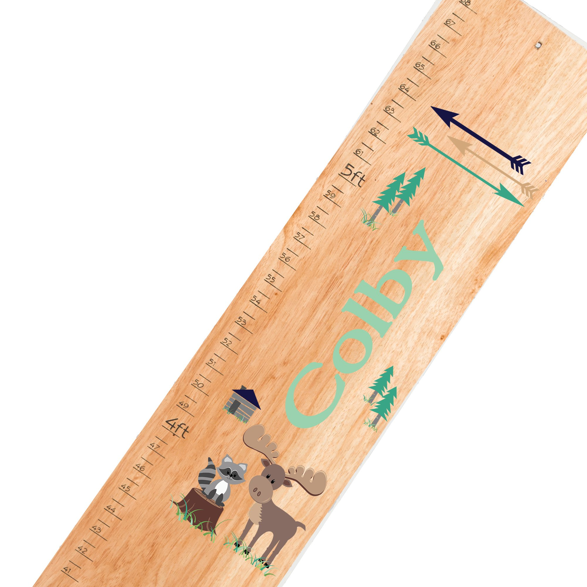 Personalized natural North Woodland childrens wooden growth chart