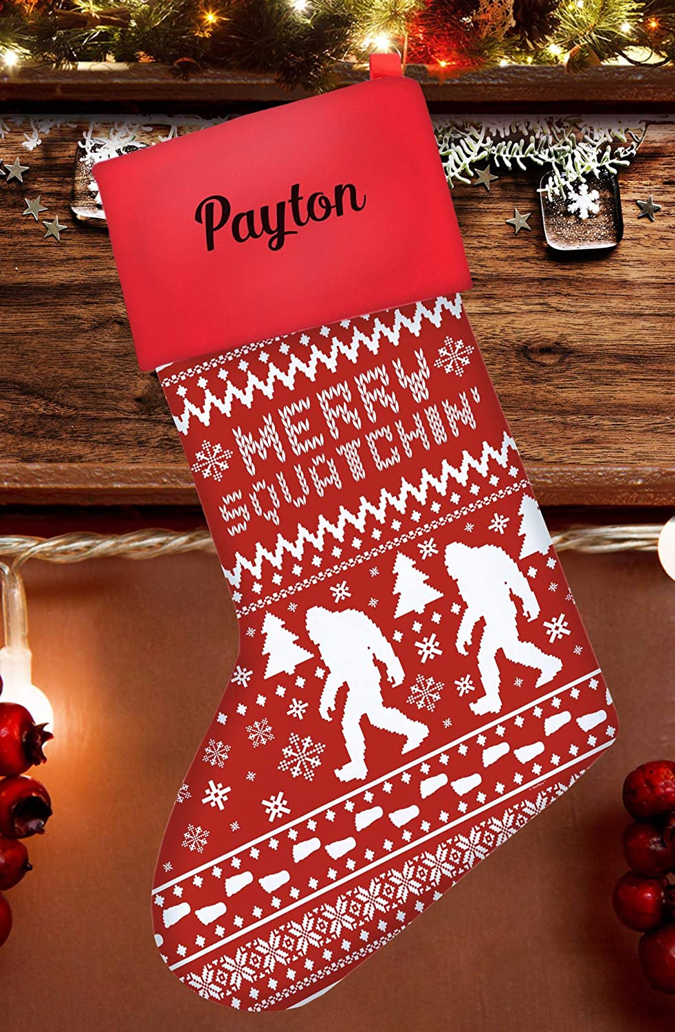 Funny Christmas Stockings for Kids Sasquatch Squatchin Ugly Christmas Sweater Themed Pattern Christmas Stockings for Secret Santa Nerdy Gifts for Christmas Stocking Red