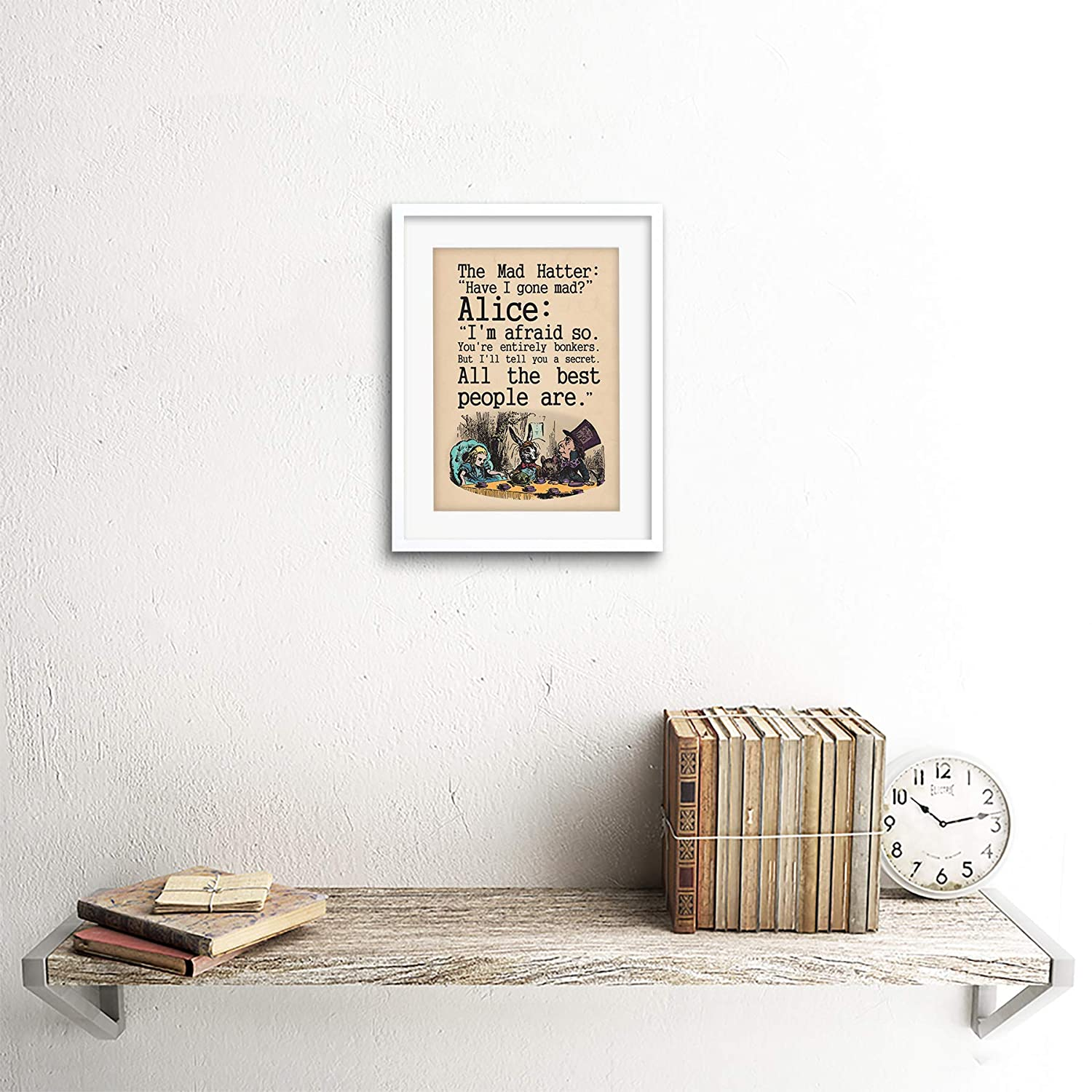 QUOTE CARROLL BOOK ALICE WONDERLAND MAD HATTER TEA PARTY FRAMED ...