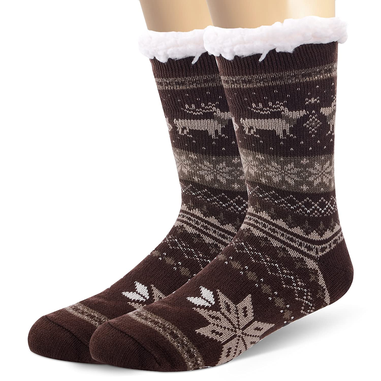 ANTSANG Mens Warm Fleece Lined Knit Fuzzy Thick Winter Slipper Socks Snowflake