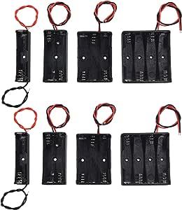 LAMPVPATH (Pack of 8) AAA Battery Holder Bundle 2Pcs Single AAA Battery Holder, 2Pcs 2X 1.5V 2 AAA Battery Holder, 2Pcs 3 AAA Battery Holder with Wires, 2Pcs 4X 1.5V 4 AAA Battery Holder with Leads