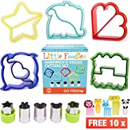 [20-Piece Set] Sandwich Cutters for Kids - 5 Sandwich Cutter Shapes, 5 Vegetable Cutters and FREE 10 Bento Decorations