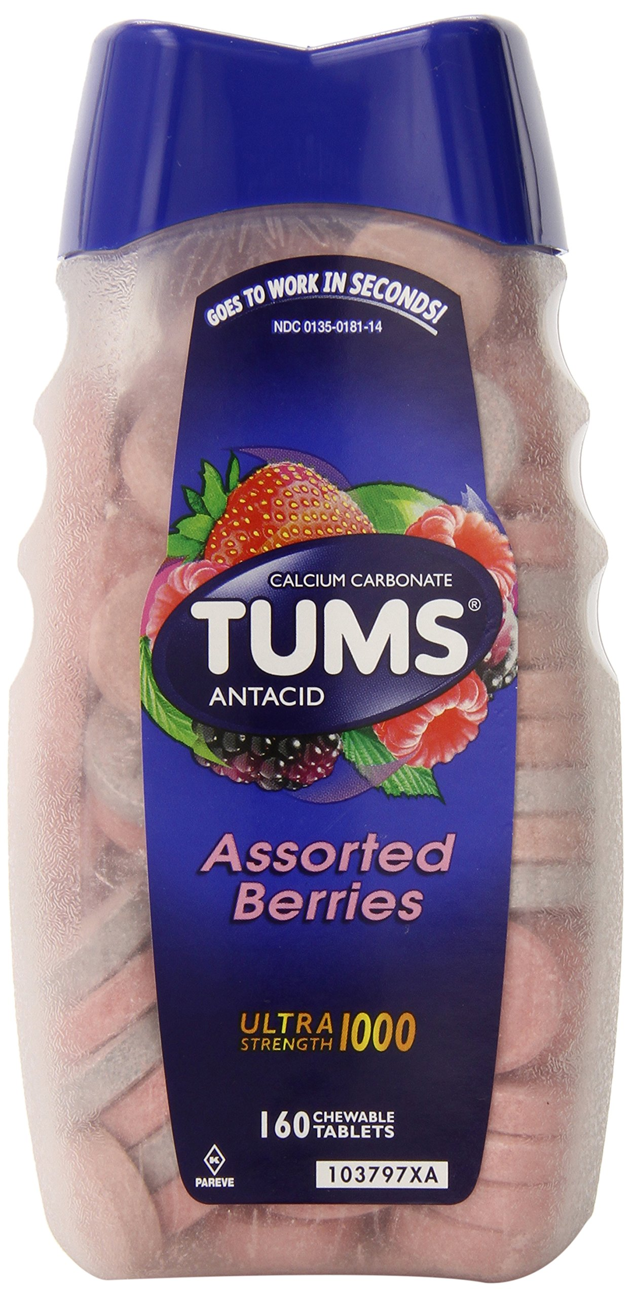Tums Ultra Strength 1000 ,Antacid Chewable Tablets, Assorted Berries, 160 Count (Pack of 24) by TUMS