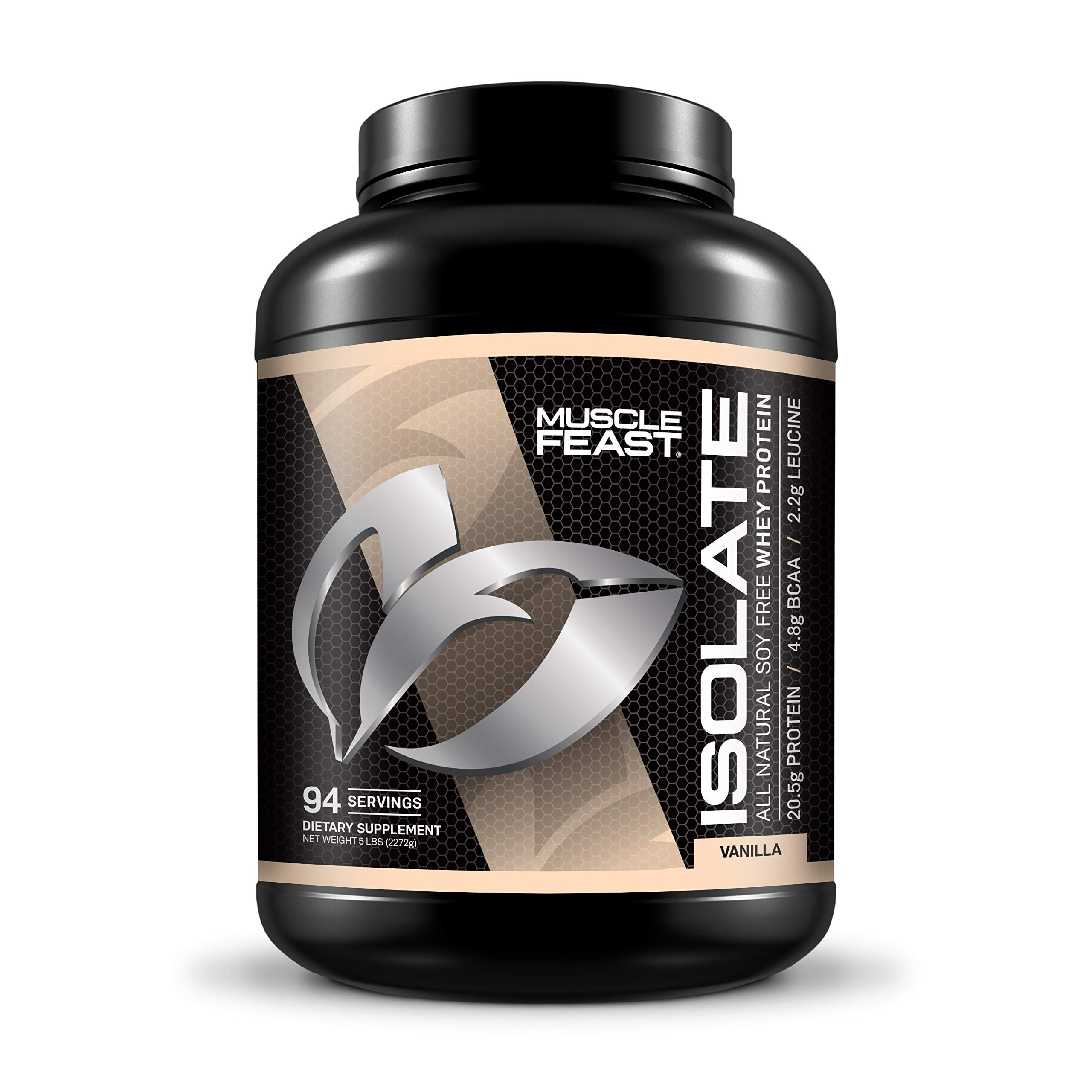 Pure Whey Protein Isolate Powder by Muscle Feast | All Natural and Kosher Certified (5lb, Vanilla)