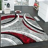 Designer Teppich mit Konturenschnitt Muster Gestreift Grau Schwarz Rot Meliert, Grösse:160x230 cm