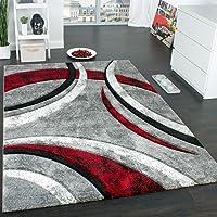 Paco Home Tapis Design à Contours Motif Ligné Moucheté Gris Noir Rouge Crème