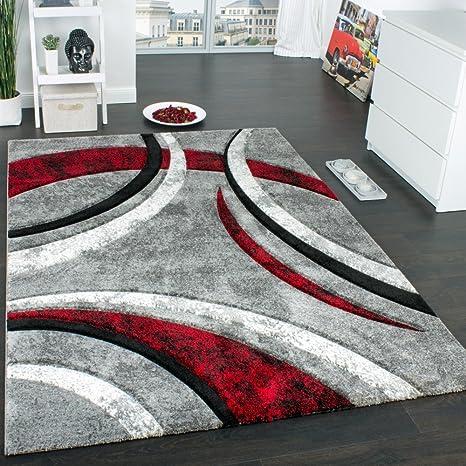 Paco Home Tapis Design à Contours Motif Ligné Moucheté Gris Noir Rouge  Crème, Dimension:120x170 cm