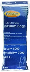 12 Riccar 8000 & Simplicity 7000 Type B Vaccum Bags, Upright, Commercial Vacuum Cleaners, 8000, 7000, 7200, 7250, 7300, 7350, 7700, 7750, 7900, 7950