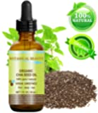 """ORGANIC CHIA SEED OIL. 100% Pure / Natural / Undiluted / Cold Pressed Carrier Oil for Skin, Hair, Lip and Nail Care. """"A remarkable and stable source of omega-3,6,9, B-vitamins and minerals."""" 1 fl.oz.- 30 ml"""