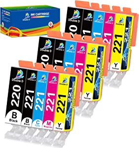 Double D Compatible Canon 220 221 Ink Cartridges Replacement for Canon PGI-220 PGI220 CLI-221 CLI221, Work with PIXMA MX860 MX870 MP560 MP550 MP540 MP620 MP640 IP3600 IP4600 IP4700, 15 Pack