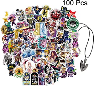 Kilmila JoJo's Bizarre Adventure Stickers 100Pcs (with Arrow Requiem Pendant JoJo Necklace).Anime JJBA Stickers Cartoon Laptop Stickers Waterproof Skateboard Car Snowboard Bicycle Luggage