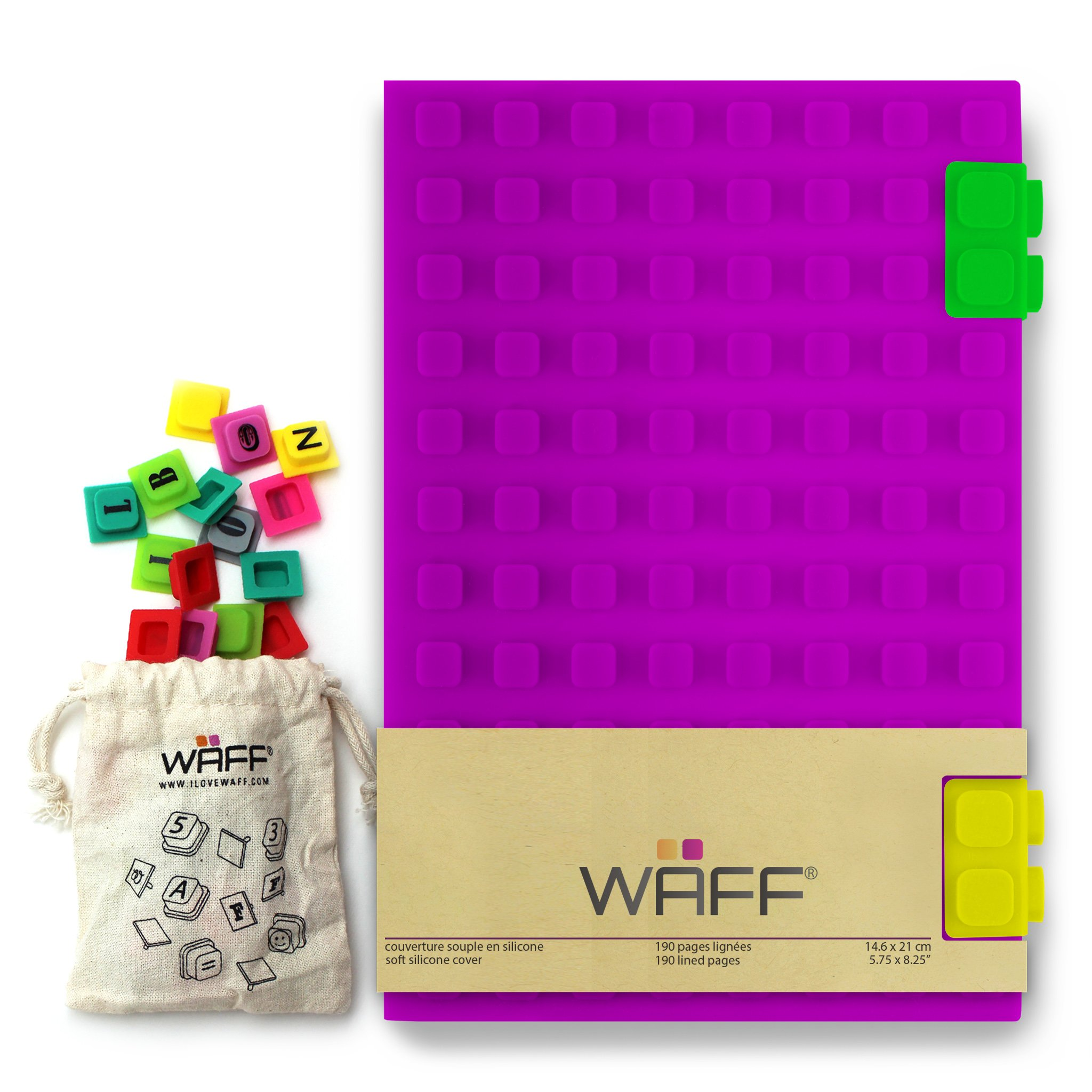 WAFF, Soft Silicone Cube Tiles And Notebook / Journal Combo, Large, 8.25'' x 5.5'' - Purple by WAFF